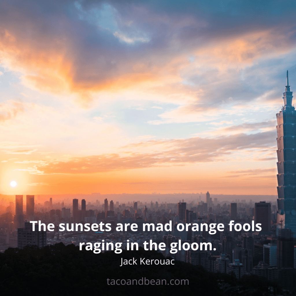 sunset quote with a caption and image for instagram