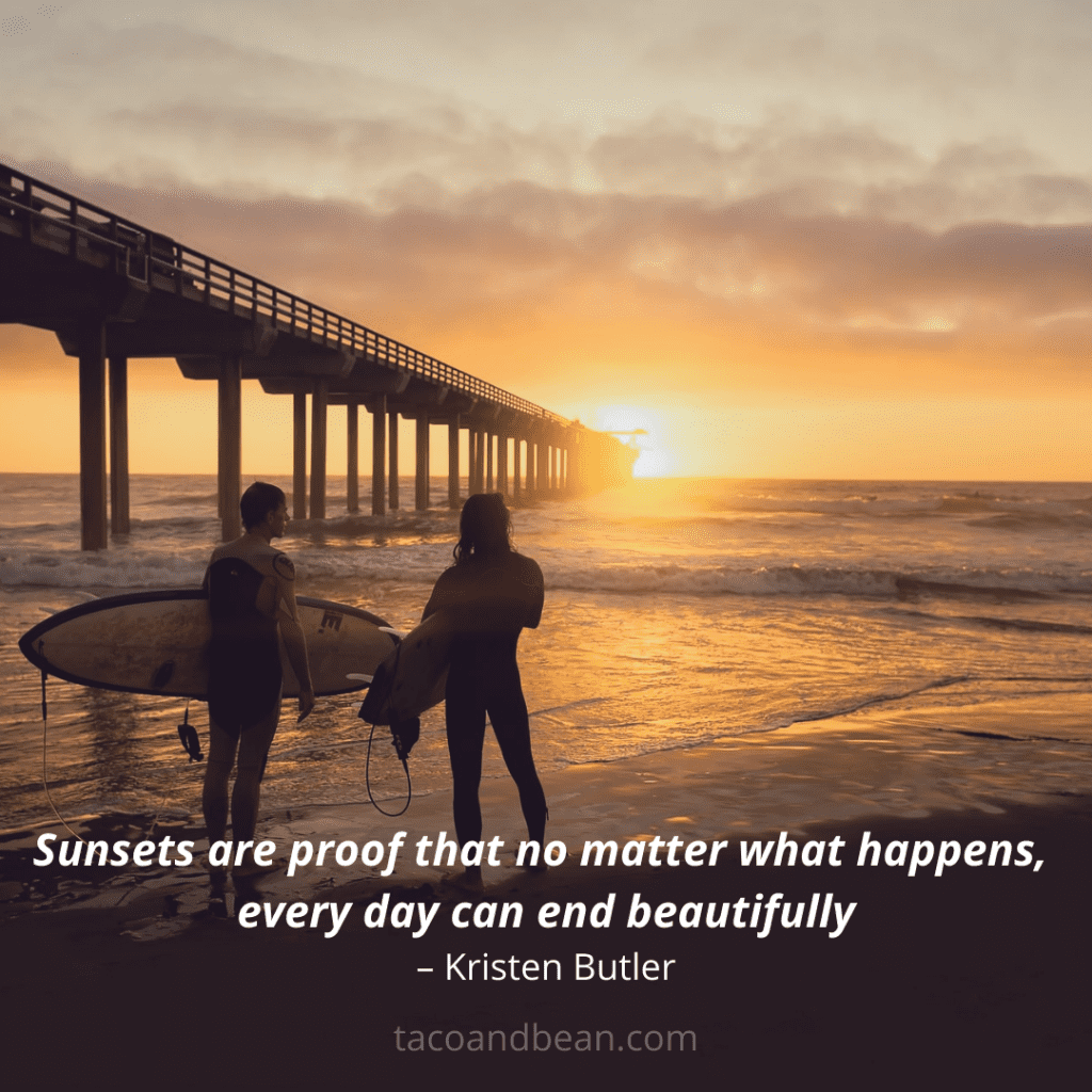 inspirational quote with sunsets and beach