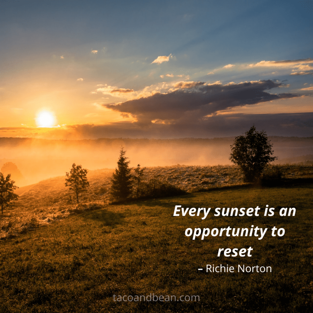 sunset quote for use on instagram with caption