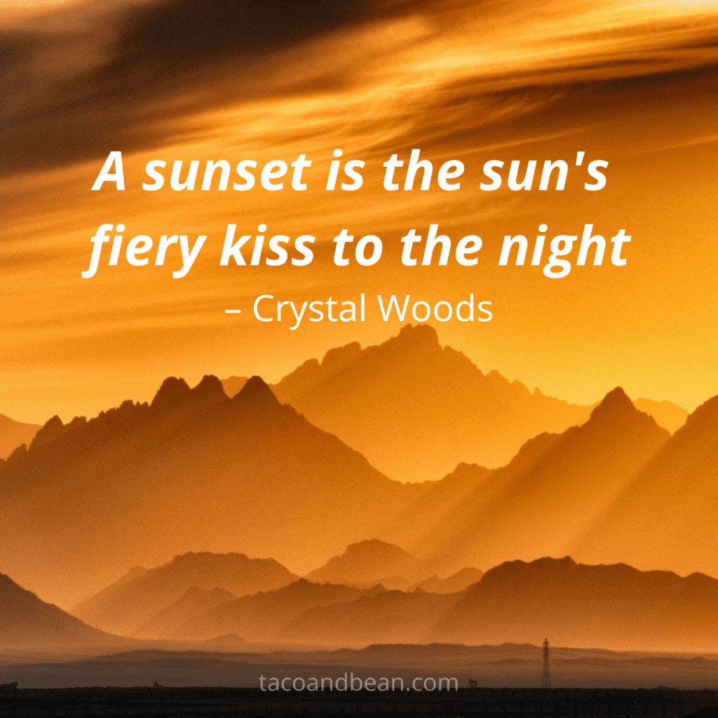 desert with sunset quote and captions