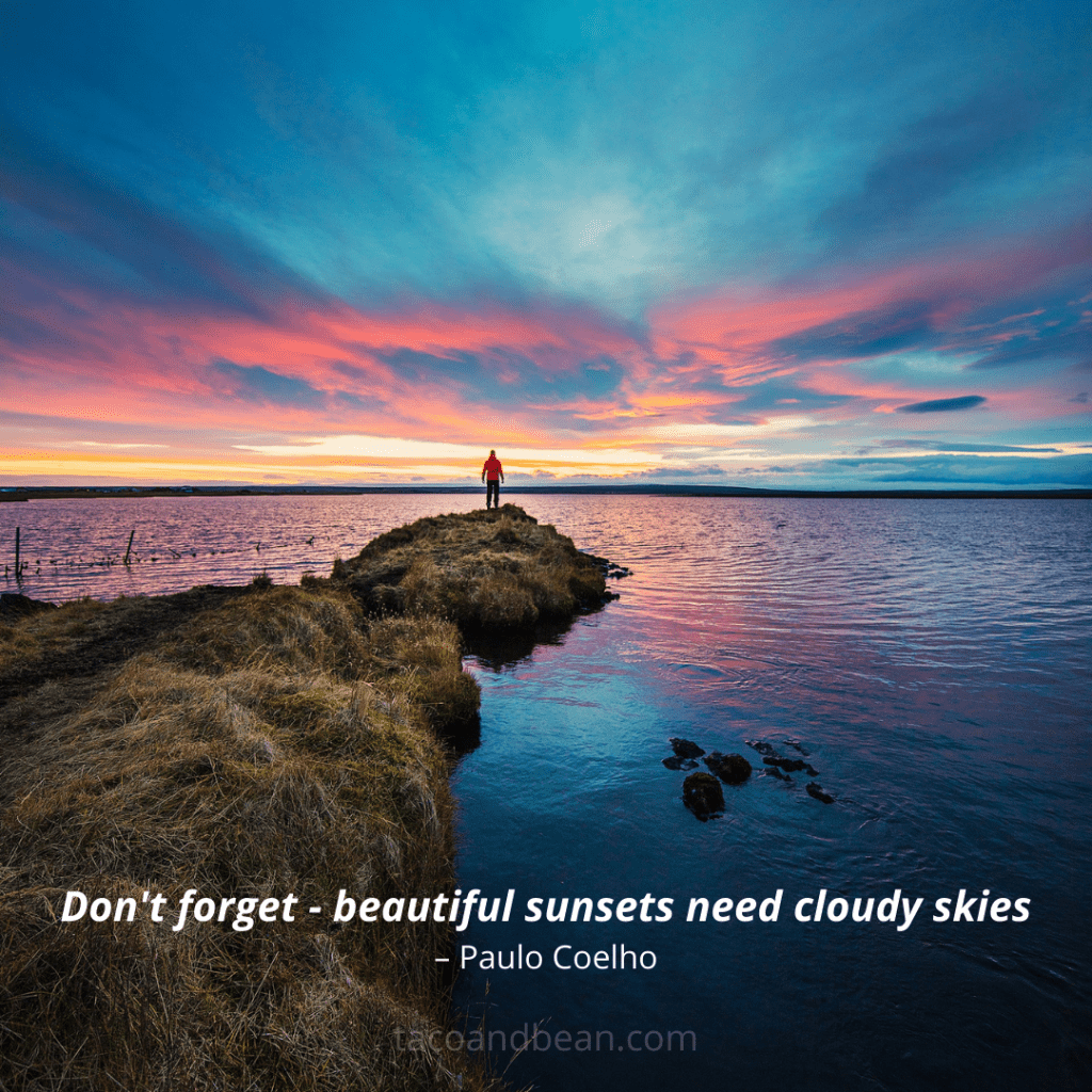 beautiful sunset photo with quote and caption for instagram