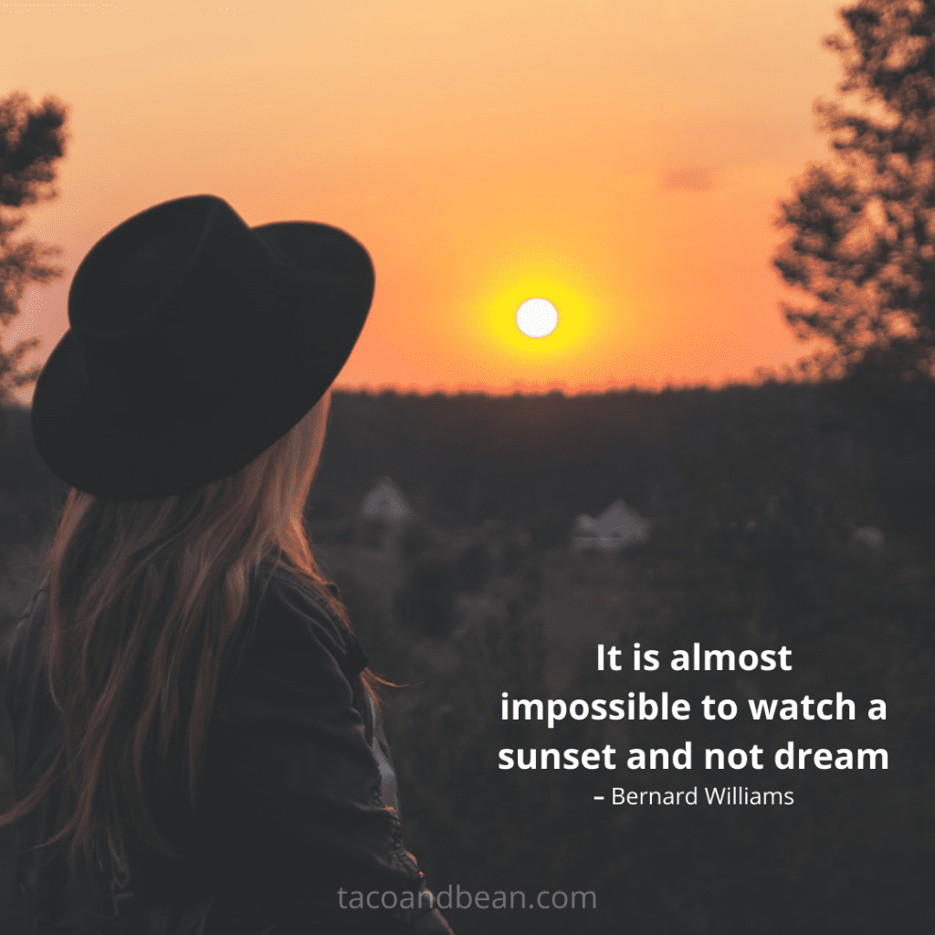 inspirational motivational sunset quote and caption