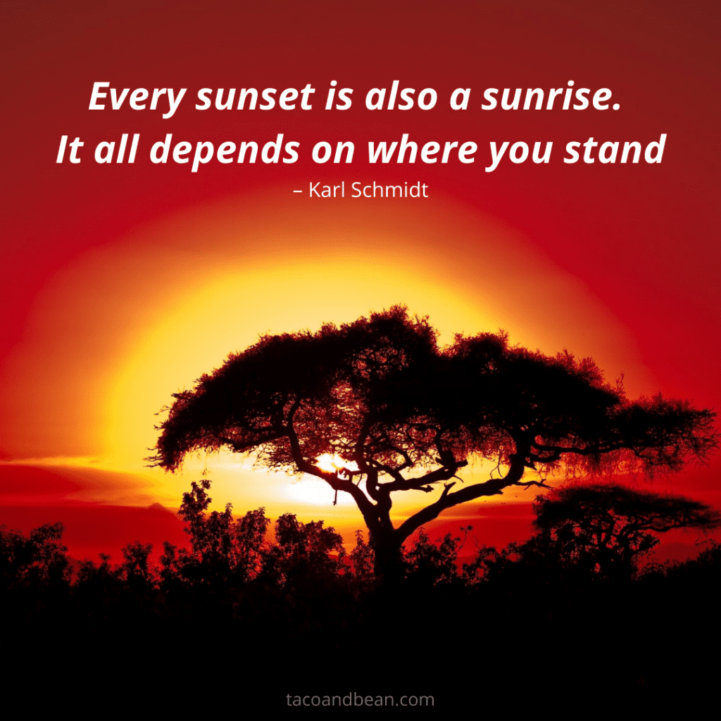 a sunset over africa with a motivational quote for instagram